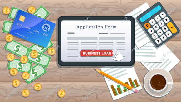 Apply for small business loan, online application form on flat tablet screen with cursor click button isolated on wooden on desk with cash, calculator