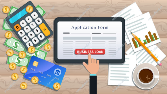 Online business loan or lending concept. Home mortgage. Flat tablet with loan application form and hand click button on desk with cash, calculator