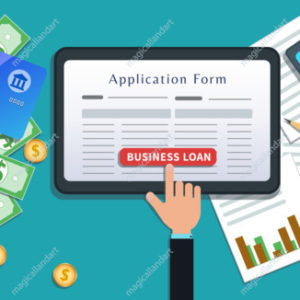 Small business bank mortgage loan or lending, online application form on flat tablet screen with hand click button isolated on desk with cash, credit card, calculator
