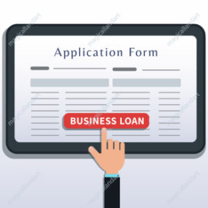 Apply for small business loan, application form on tablet or smartphone screen with hand click button isolated on white background. Home mortgage loan