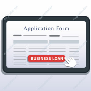 Small business loans online financial concept. Flat tablet with application form on screen and cursor click button isolated on white background. Home mortgage