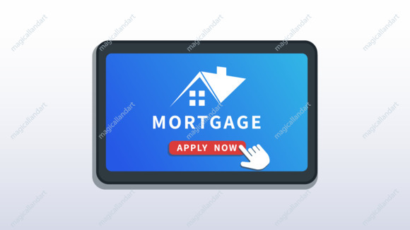 Home mortgage online service, mobile app. Buy real estate, mortgage loan application. Flat smartphone or tablet with house logo and cursor pointer click apply now button
