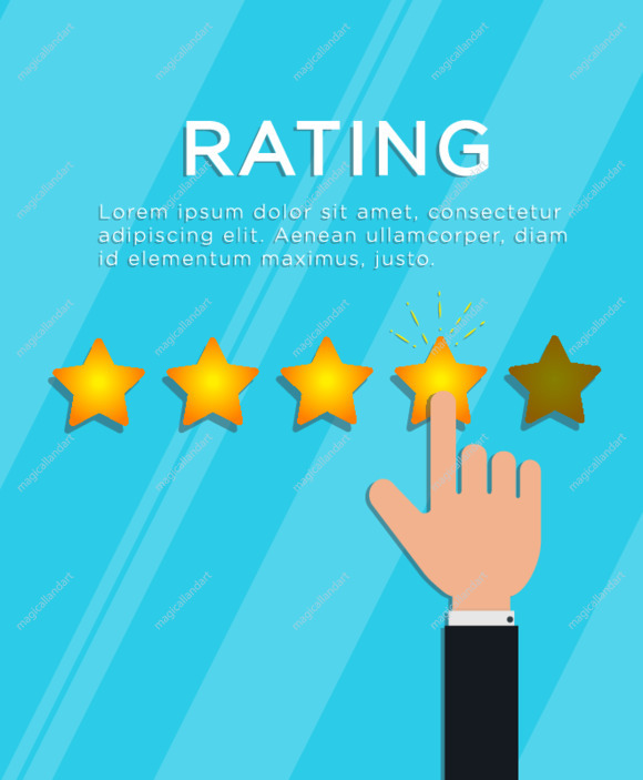 Customer review concept. Hand finger puts 4 out of 5 star rating. Online feedback, support service quality, survey or testimonial. Flat style vector illustration