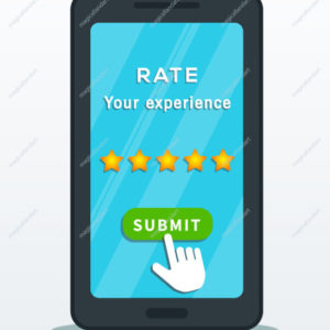 Five star quality rating system on smartphone screen with hand cursor pointer click on submit button isolated on white background. Customer review