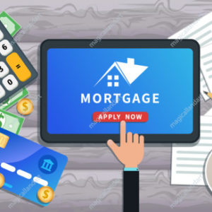 Mortgage loan online. Buy real estate, home mortgage. Flat tablet with house logo and hand clicking apply now button on desk with credit card, calculator, cash