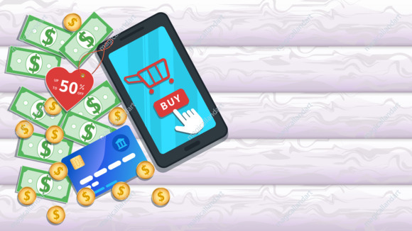 Online shopping with mobile app. Flat smartphone with 50 percent off on price tag, cart icon and cursor clicking buy button on touch screen. Table with credit cards