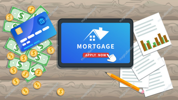 Mortgage loan online concept. Buy real estate, property investment, home loan. Flat tablet or smartphone with house logo and apply now button