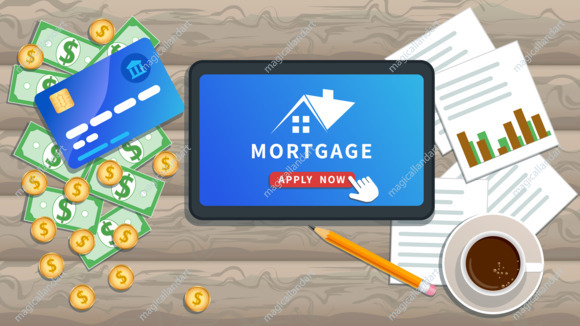 Apply for mortgage loan online. Property investment, home loan. Flat tablet or smartphone with house logo, cursor click button on desk with cash, credit card, cup of coffee