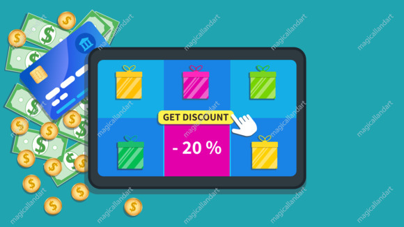 Online shopping deals. Flat tablet with gift boxes icon, special offer sale 20% off and cursor click get discount button on screen. Table with cash, coins and credit card