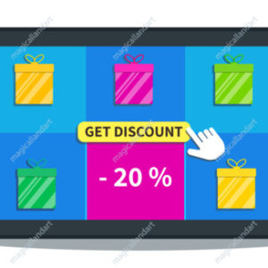 Sale, special offer promotion, 20% off. Online shopping deals.  Flat tablet with gift boxes icon and cursor click get discount button on screen isolated on white background