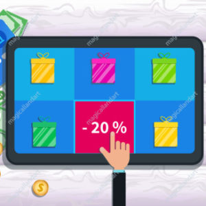 Sale, deals and special offer promotion. Flat tablet with gift boxes icon and hand finger select price discount 20% off discount for online shopping on screen