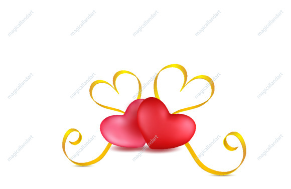 Two pink and red hearts with golden ribbon on white background. Valentines day romantic greeting card with heart shaped stripes. Clip art