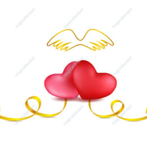 Two hearts with golden ribbon and angel wings on white background. Valentines day romantic greeting card with heart shaped stripes