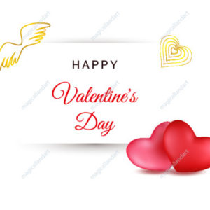 Happy Valentine's Day card design. Vector illustration with couple  realistic red hearts, typography text and angel wings on white background