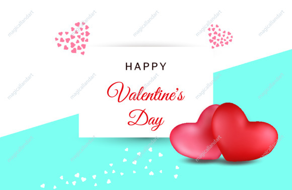 Happy Valentine's Day banner template. 3d realistic red and pink hearts with confetti on geometric flat lay background. Mother day card