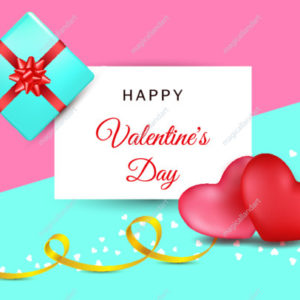 Valentines day background with two red, pink hearts with golden stripe on a colorful abstract background. Top view