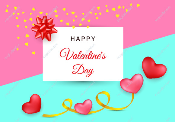 Valentines day festive composition with two red and pink hearts with golden ribbon on a colorful abstract background. Top view