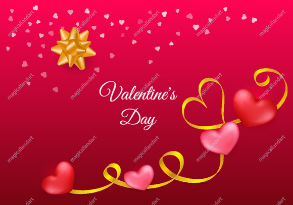 Pink Valentine's Day background with 3d red hearts. Cute love greeting card with golden ribbon, realistic gift bow and confetti