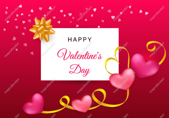 Happy Valentines day greeting card with two red and pink hearts with golden ribbon on colorful pink background