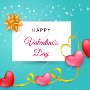 Valentine's Day background. 3d red and pink hearts with golden ribbon, realistic gift bow and confetti on white square frame