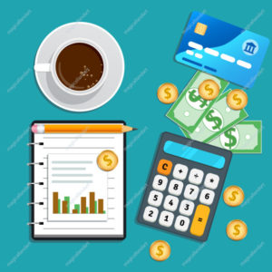 Accounting, bookkeeping concept. Financial audit, risk management, data analysis, marketing research. Table with credit card, calculator, cash coins, cup of coffee