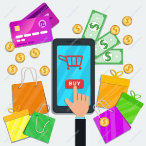 Online shopping with mobile app concept. Flat smartphone, table with credit cards, shopping bags, money cash, coins and gift boxes.