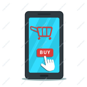 Online shopping with mobile app, business concept. Hand cursor pointer click buy button on flat smartphone screen with shopping cart icon. Product purchase.