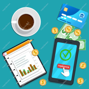 Accounting concept. Online payment. Flat smartphone with cursor pointer clicking transfer button on screen. Financial audit, tax report