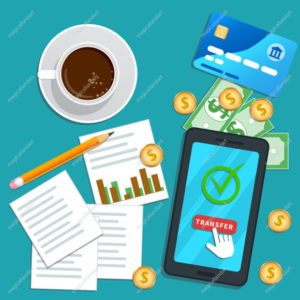 Financial audit, accounting concept. Tax report. Flat smartphone with cursor pointer clicking transfer button on screen. Project management