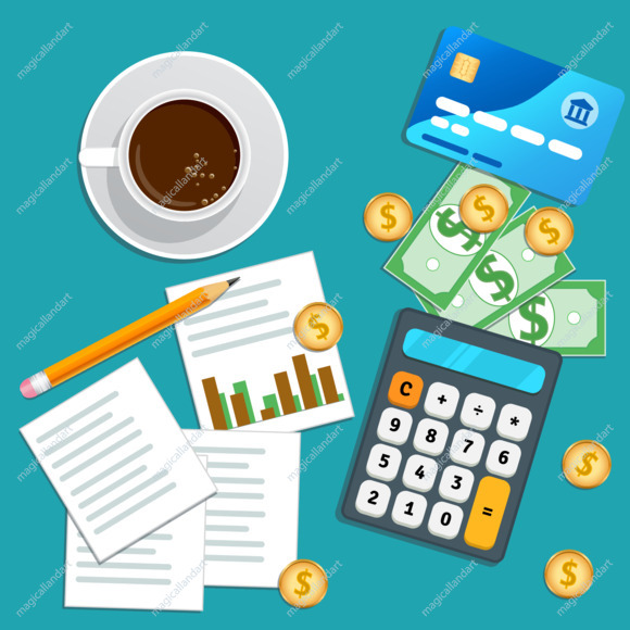 Financial audit, accounting concept. Business planning. Tax report, market data analysis, marketing research. Table with credit card, calculator