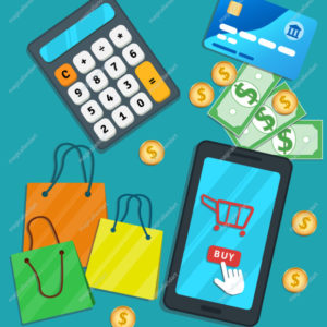 Online shopping e-commerce mobile app. Flat smartphone with cart icon and buy button on screen. Table with credit card, calculator, shopping bags, cash, coins