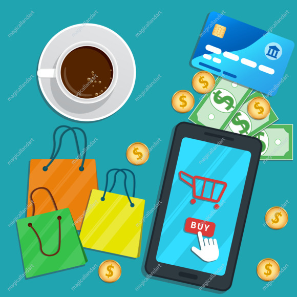 Design concept of online shopping with mobile app. Flat smartphone with cart icon and cursor pointer clicking buy button on screen.