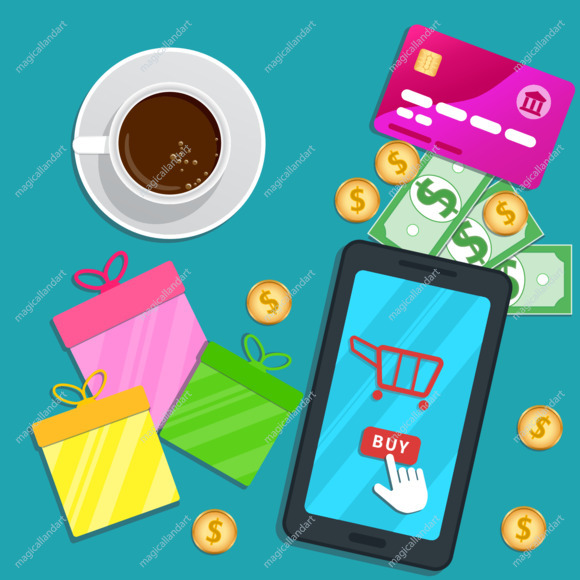 Online shopping app. Flat smartphone with cart icon and buy button on screen. Table with credit card, gift boxes for special discount offer