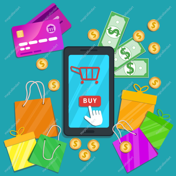 Online shopping e-commerce concept. Flat smartphone with cart icon and hand cursor pointer clicking buy button on touch screen