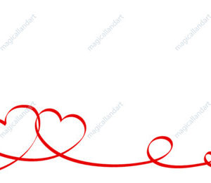 Happy Valentines Day. Red ribbon hearts isolated on white background
