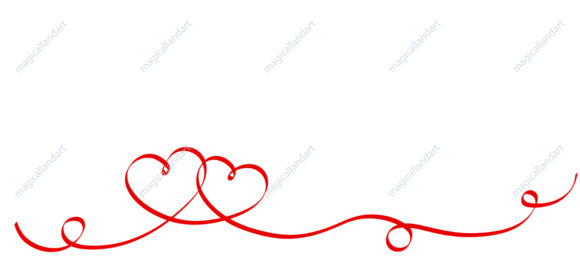 Couple red ribbon hearts isolated on white background