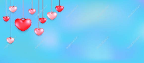 Happy Saint Valentine's day card with hanging red hearts on sky background. Vector illustration for sale banners, valentines