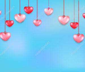 Happy Saint Valentine's day romantic sky background with hanging red and pink hearts. Vector illustration for sale banners, greeting card