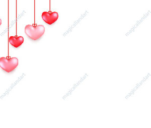 Saint Valentine's day card with hanging red hearts on white background. Vector illustration for sale banners, valentines greeting card