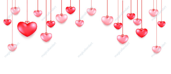Happy Saint Valentine's day romantic background with hanging red and pink hearts. Vector illustration for sale banners, greeting card