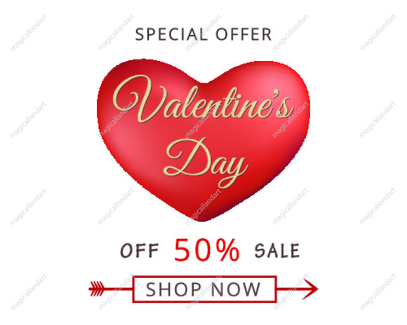 Vector illustration of Valentines day sale discount banner with red heart isolated on white background. Romantic template of greeting card