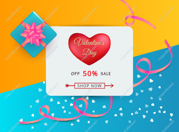 Valentines day sale background with red love heart, gift box and typography text. Romantic template of discount banner or greeting card