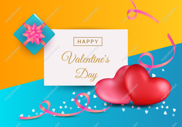 Valentines day abstract background concept with 3d realistic red hearts, typography text, pink ribbons and blue gift box
