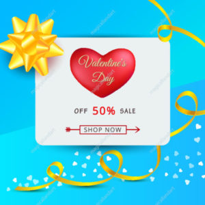 Valentines day sale banner with red heart, golden ribbon, gift bow and typography text isolated on blue background