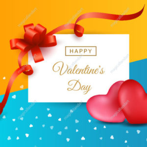 Happy Valentines day background with two hearts, red gift bow and ribbon, calligraphy text