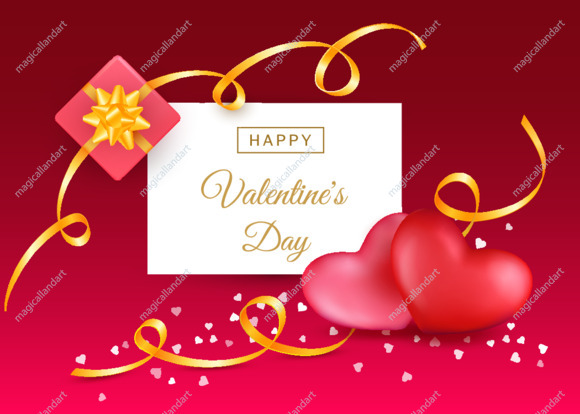 Valentines Day card concept. Romantic template with 3d realistic red hearts, typography text, golden ribbons and gift box