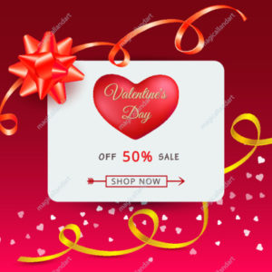 Vector illustration of Valentines day sale banner with 2 red hearts, golden ribbons and typography text, isolated on pink background.