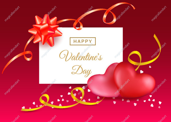 Valentines day greeting card with two red hearts, golden ribbons and calligraphy happy valentines day text isolated on pink background