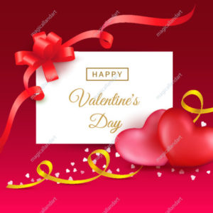Happy Valentines day background with two hearts, red gift bow and golden ribbon, calligraphy text. Template design for sale banner