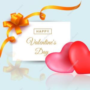 Valentines day greeting card template with 2 hearts and handwritten calligraphy text isolated on glossy background with reflection